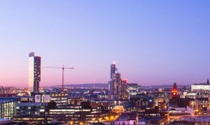 city scape of Manchester during twilight