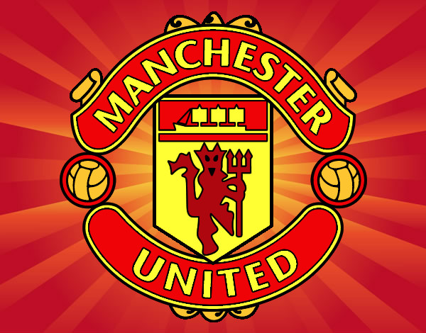 hi res logo of the manchester united emblem on a red background